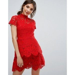 Misguided Red Lace Dress